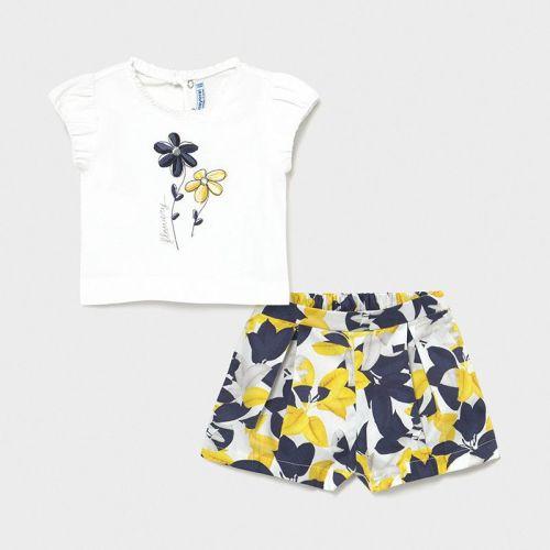Girls Mayoral Shorts Set 1234 Yellow and Navy