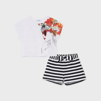 Girls Mayoral T Shirt and Shorts Set 6278 Black