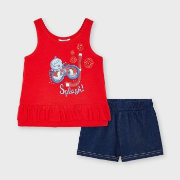 Girls Mayoral Top and Shorts Set 3216 Poppy
