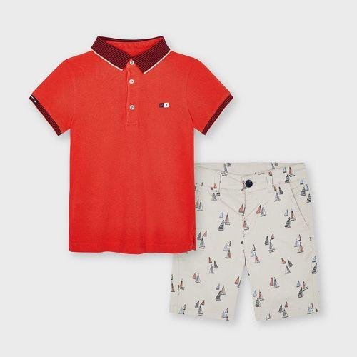 Boys Mayoral Polo Shirt and Shorts Set 3245 Whiteboard