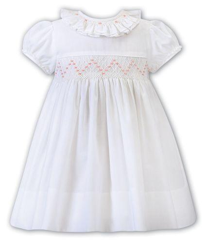 Girls Sarah Louise Dress 012250 Ivory and Peach