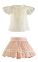 Girls Miranda Salmon and Cream Skirt Set 248