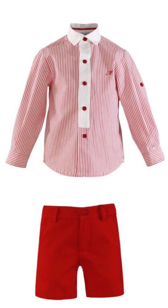 PRE ORDER SS21 Boys Miranda Red and White Short Set 253