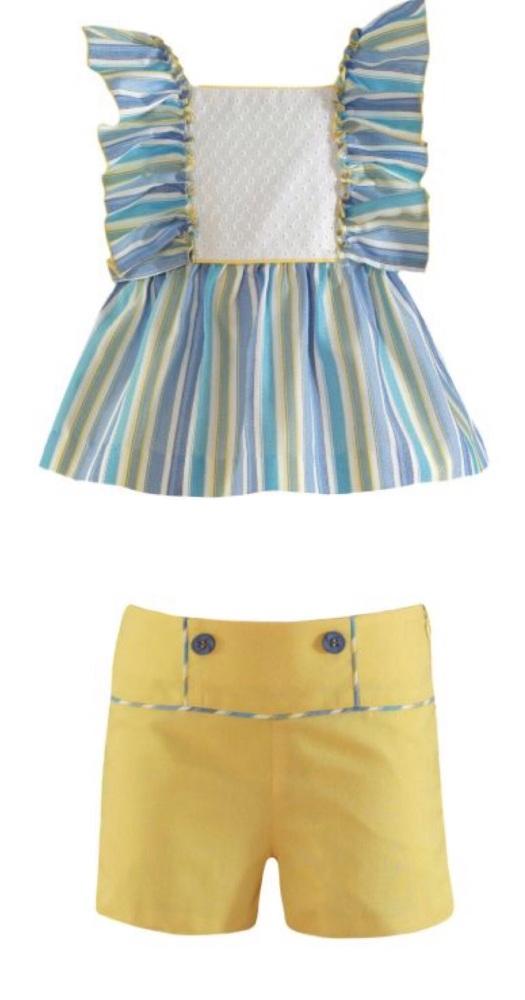 PRE ORDER SS21 Girls Miranda Lemon and Blue Shorts Set 627