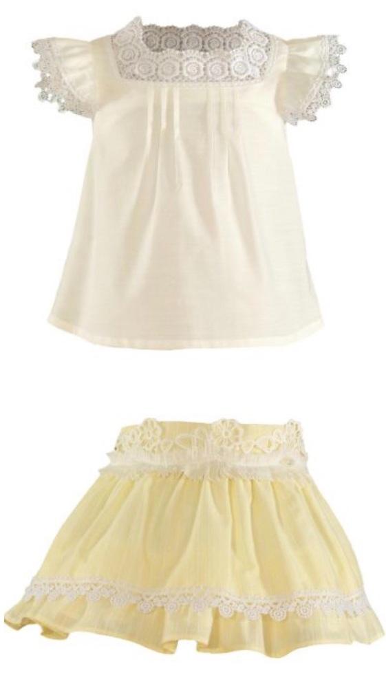 PRE ORDER SS21 Girls Miranda Lemon and White Skirt Set 241