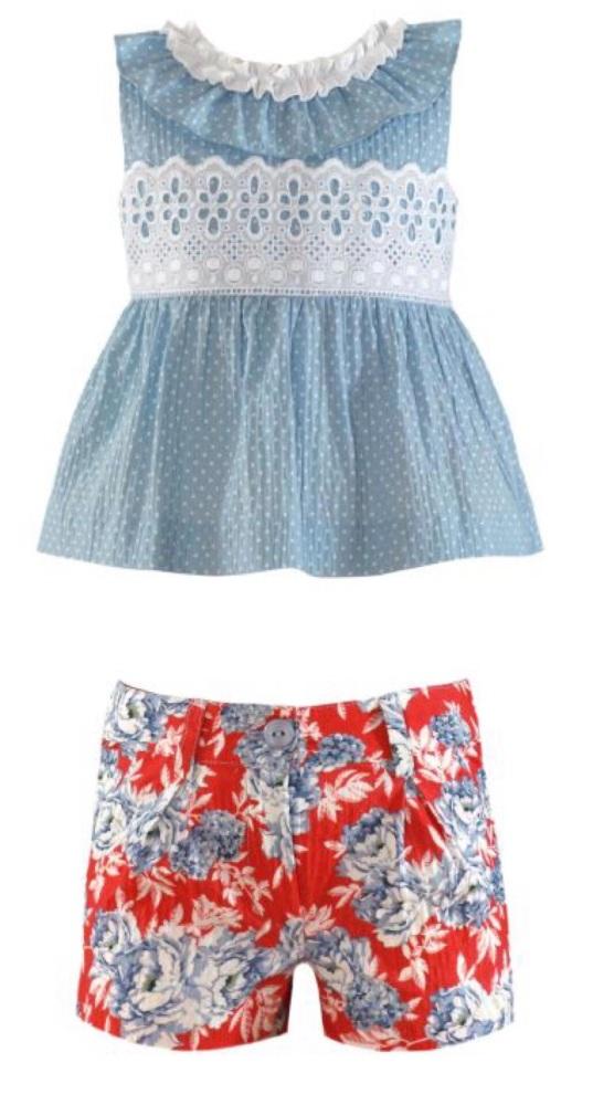 PRE ORDER SS21 Girls Miranda Red and Blue Shorts Set 256