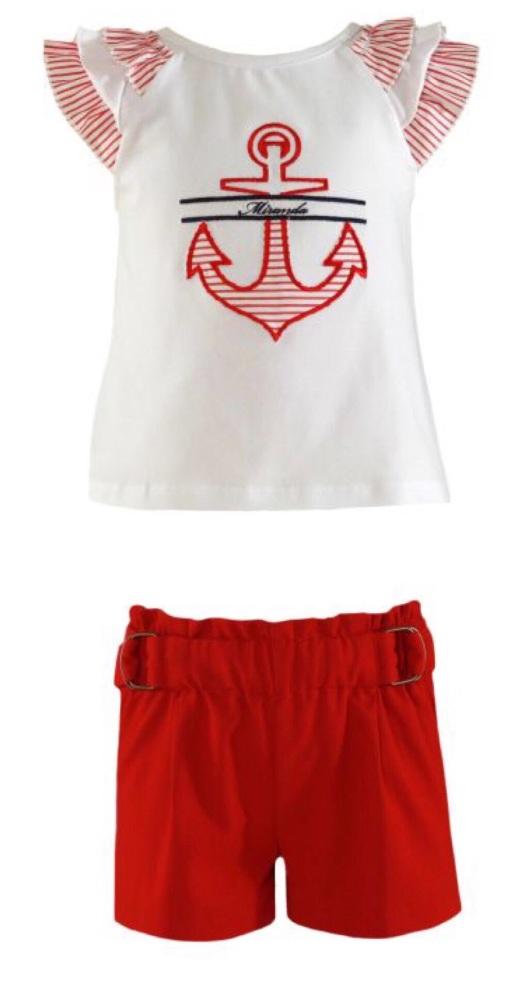 PRE ORDER SS21 Girls Miranda Red and White Short Set 259(252C/2593)