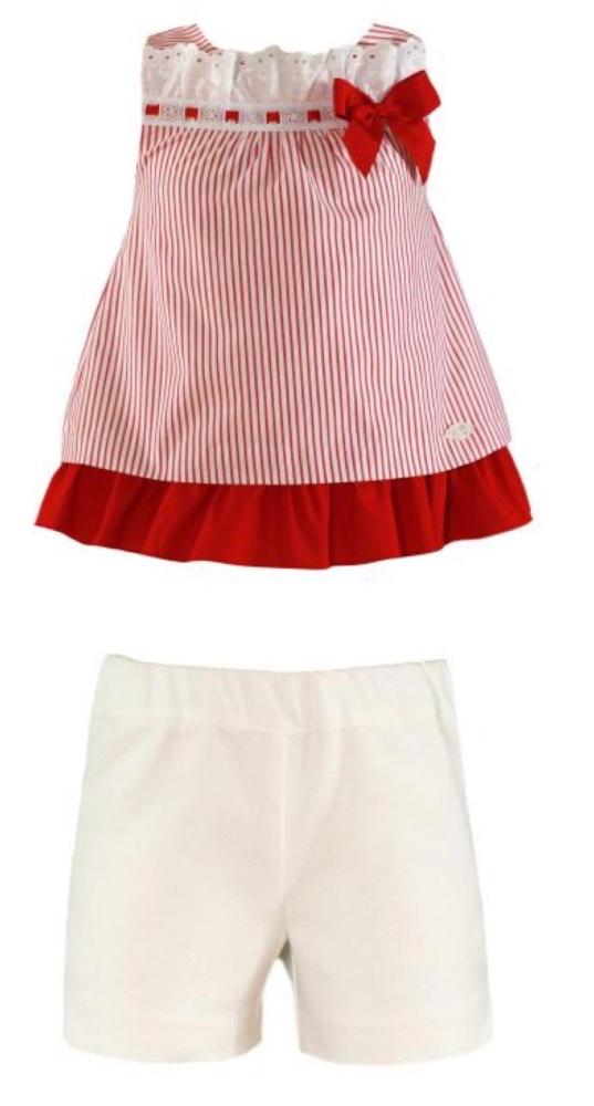 PRE ORDER SS21 Girls Miranda Red and White Shorts Set 294