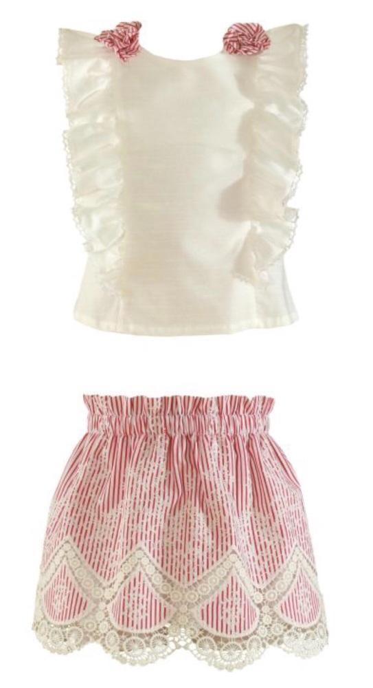 PRE ORDER SS21 Girls Miranda Red and White Skirt Set 252(2522/252F)