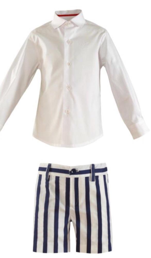 PRE ORDER SS21 Boys Miranda Blue and White Short Set 260