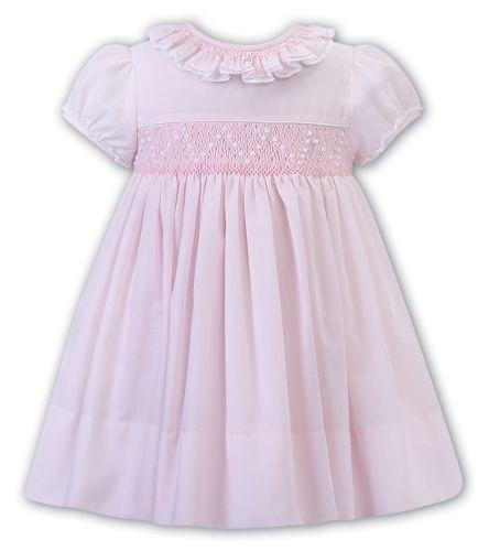 Girls Sarah Louise Dress 012250 Pink and White