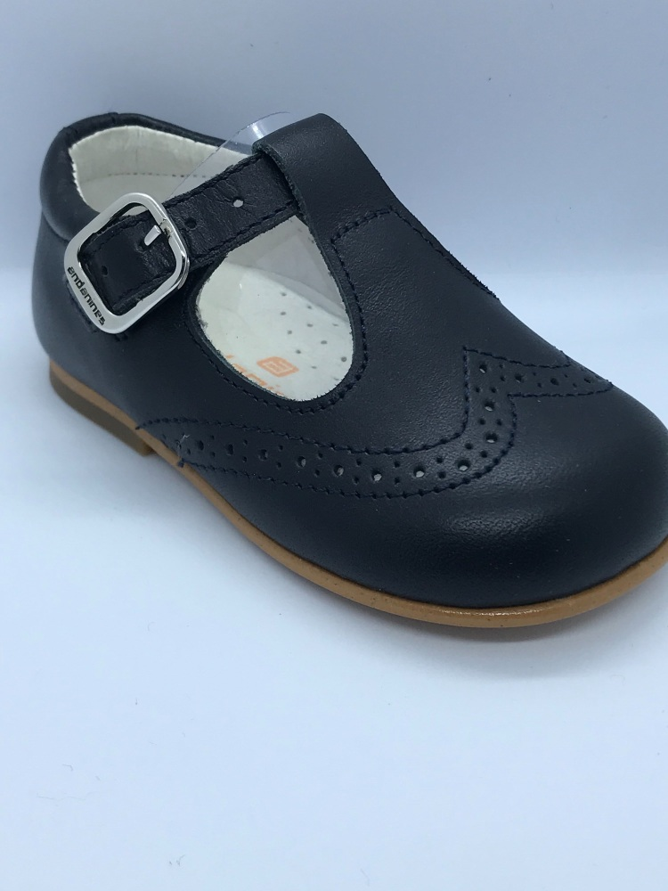 Boys Andanines Navy Leather Shoes 171077