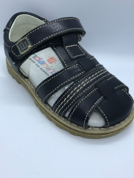 Boys Andanines Navy Leather Sandals 27040