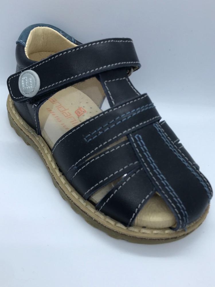 Boys Andanines Navy Leather Sandals 171377