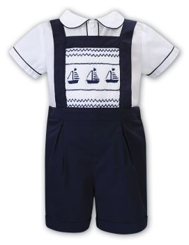 Boys Sarah Louise Outfit 012202 White and Navy