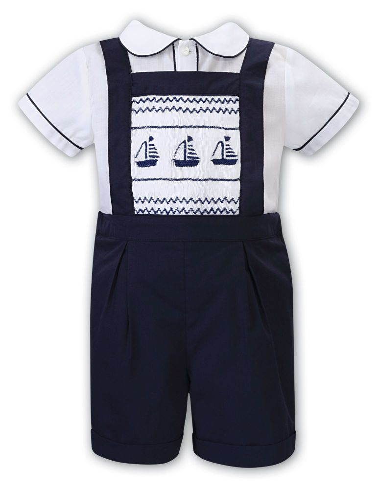 Boys Sarah Louise Outfit 012202 White and Navy - PRE ORDER