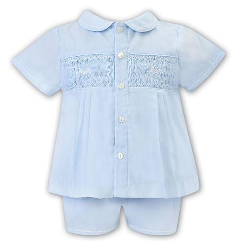 Boys Sarah Louise Outfit 012207 Blue and White - PRE ORDER