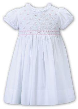 Girls Sarah Louise Dress 012268 White and Pink