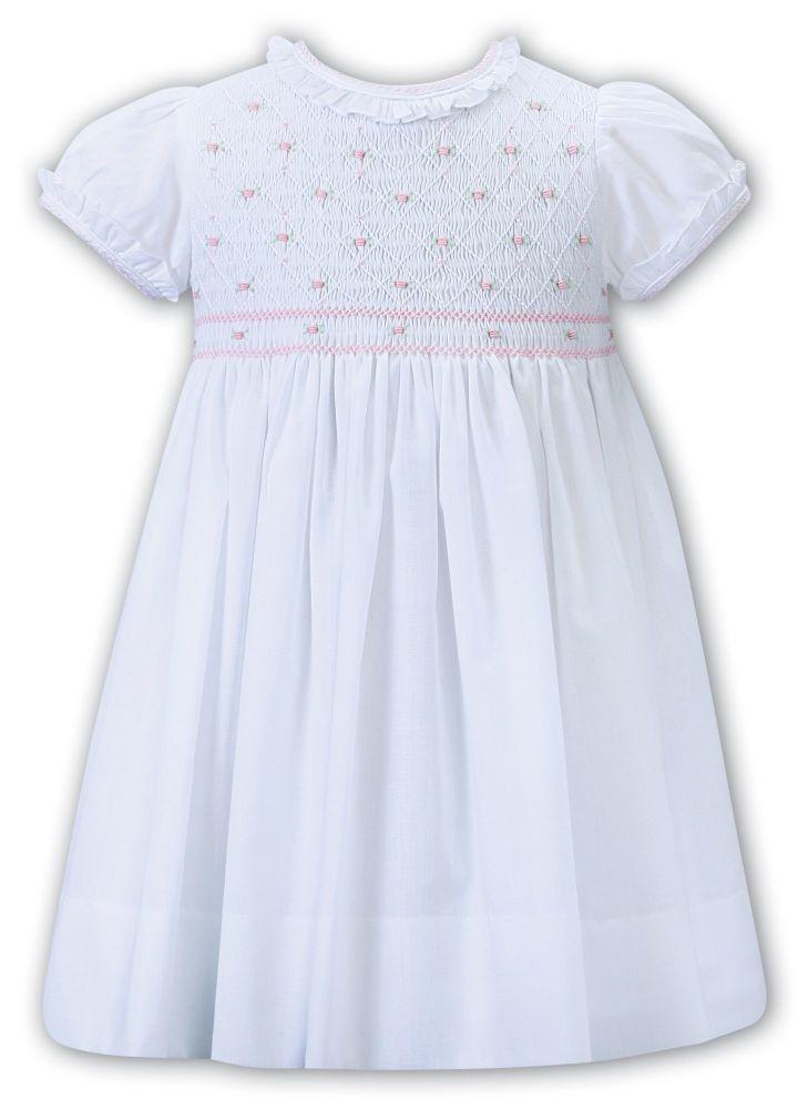 Girls Sarah Louise Dress 012268 White and Pink - PRE ORDER