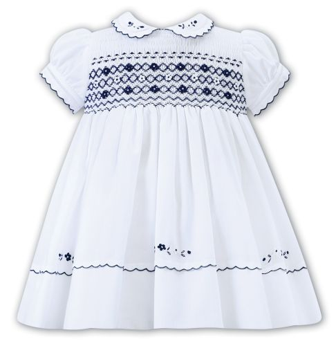 Girls Sarah Louise Dress 012292 White and Navy - PRE ORDER