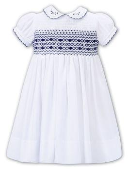 Girls Sarah Louise Dress 012293 White and Navy
