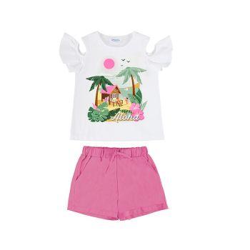 Girls Mayoral T Shirt and Shorts Set 6282 Pink
