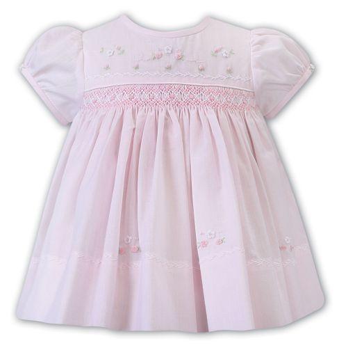 Girls Sarah Louise Dress 012226 Pink and White