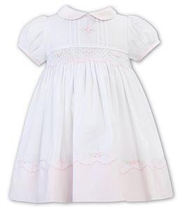 Girls Sarah Louise Dress 012270 White and Pink