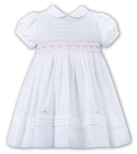 Girls Sarah Louise Dress 012273 White and Pink
