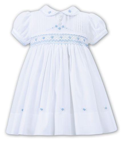 Girls Sarah Louise Dress 012267 White and Blue