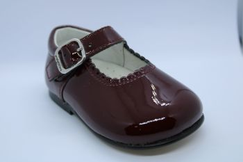 Girls Andanines Burgundy Patent Mary Jane Shoes