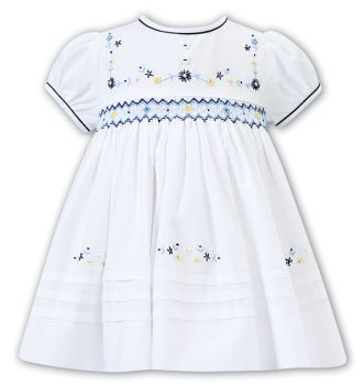 Girls Sarah Louise Dress 012297 White and Navy