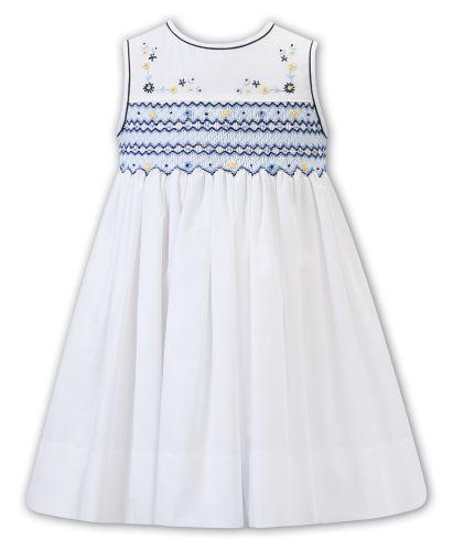 Girls Sarah Louise Dress 012298 White and Navy