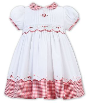 Girls Sarah Louise Dress 012320 White and Red