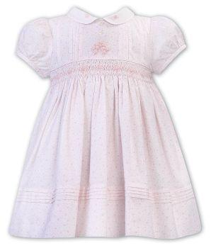 Girls Sarah Louise Dress 012301 White and Pink