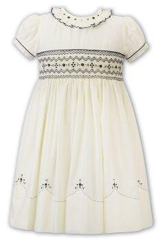 Girls Sarah Louise Dress 012276 Lemon and Navy