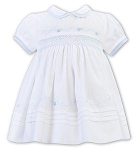 Girls Sarah Louise Dress 012265 White and Blue
