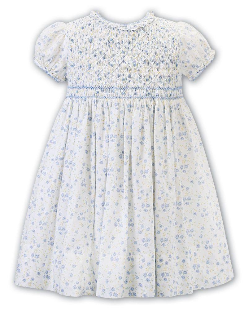Girls Sarah Louise Dress 012362 White, Blue and Lemon