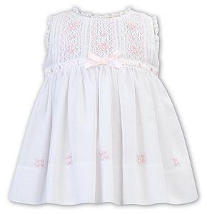 Girls Sarah Louise Dress 012245 White and Pink