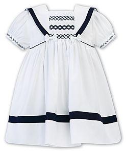 Girls Sarah Louise Dress 012280 White and Navy