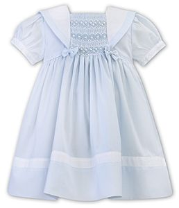 Girls Sarah Louise Dress 012281 White and Blue
