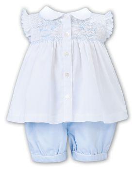 Girls Sarah Louise 2 Piece Set 012208 White and Blue