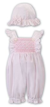 Girls Sarah Louise Romper and Hat 012287 Pink