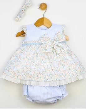 Girls Popys Blue and White Dress, Pants and Headband 24240