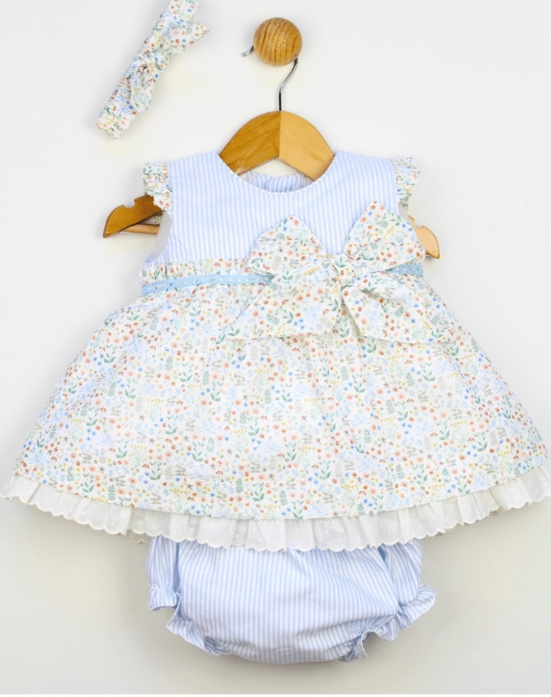 Girls Popys Blue and White Dress, Pants and Bonnet 24240