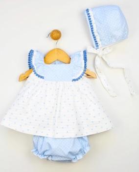 Girls Popys Blue and Cream Dress, Pants and Bonnet 24252