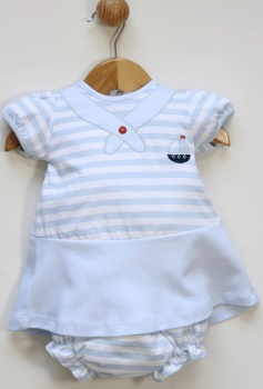 Girls Popys Blue and White Dress and Pants 24448