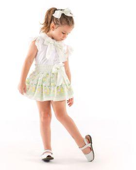 Girls Naxos Green, Lemon and Pink Top and Skirt Set 6757 6742