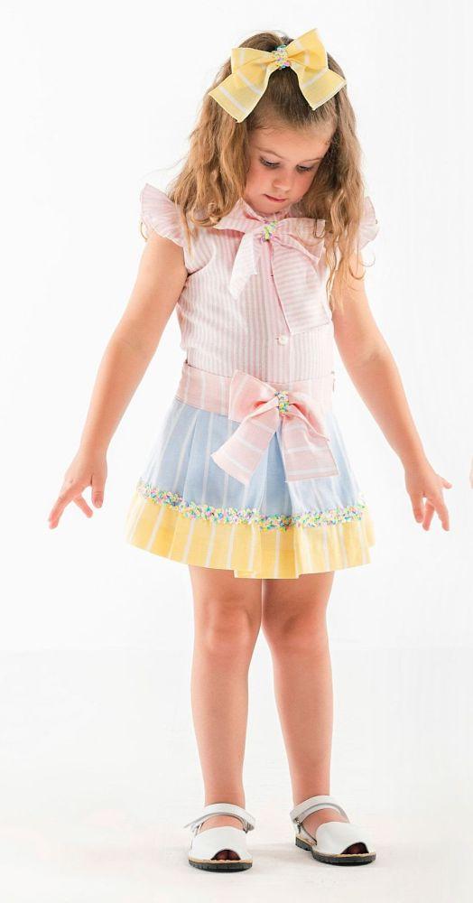 Girls Naxos Green, Lemon and Pink Top and Skirt Set 6763 6746