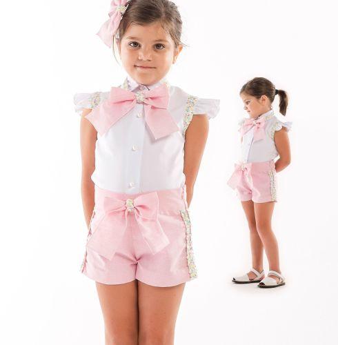 Girls Naxos Pink and White Short Set 6765 6752
